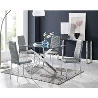 Leonardo Glass And Chrome Metal Dining Table And 4 Elephant Grey Milan Chairs Set