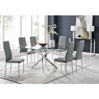 Furniturebox Uk - Leonardo Glass And Chrome Metal Dining Table And 6 Elephant Grey Milan Chairs Dining Set