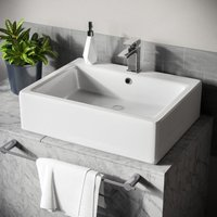 Neshome - Lomond Rectangle 600 mm Large Counter Top or Wall Hung Basin