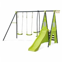 Swing with 5 pieces of accessories - Libeccio - Frame with two swings, 1 face to face swing, 1 slide, 1 basketball hoop, 1 climbing wall and 1 tipi