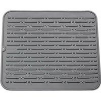 Langray - Lifetime Warranty XL Silicone Dish Drying Mat 45 x 40cm (Gray)