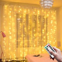 Light Curtain, 3M * 3M USB 300 LED String Lights, 8 Modes Remote Control Timer Deco for Wedding Patio Curtain Waterproof Outdoor Indoor Christmas