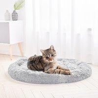 Light Grey Round Cat Dog Cushion Faux Fur Fluffy Shaggy Sheepskin Pet Bed, 100CM - LIVINGANDHOME