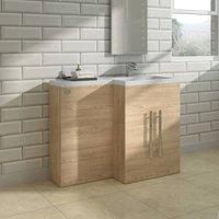 Light Oak Right Hand Bathroom Cabinet Furniture Combination Vanity Unit Set (No Toilet)