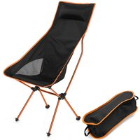 Augienb - Lightweight Folding Camping Chair 40X100X58CM orange Portable Outdoor Fishing BBQ Seat Backpacking