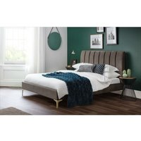 Lilly 4ft6 Double 135 x 190 TRUFFLE VELVET and GOLD Scallop Bed Frame