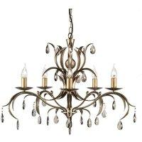 Elstead Lily - 5 Light Chandelier Metallic Bronze Floral Leaves Design