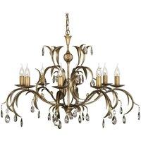 Elstead Lighting - Elstead Lily - 8 Light Chandelier Metallic Bronze Floral Leaves Design