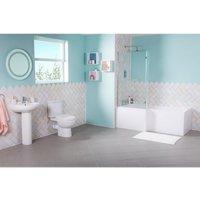 Lima Bathroom Suite with Left Hand L Shape Shower Bath - AQUARISS