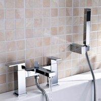 Neshome - Lima Cube Bathrrom Bath Square Chrome Modern Shower Mixer with Shower Handset