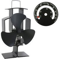 Lincsfire 3 Blades Eco Friendly Silent Heat Powered Stove Fan for Wood/Log Burner/Fireplace + Free Stove Thermometer