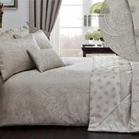 Linden Natural Double Duvet Cover Set Jacquard Bedding Bed Set