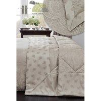 Linden Natural Quilted Throwover Decorative Jacquard Throw