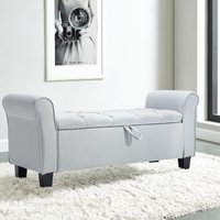 Linen Bed End Bench Ottoman Storage Blankets Box Window Seat Stool with Armrest