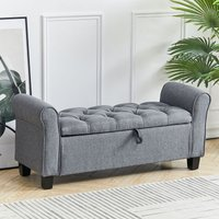 Linen Bed End Bench Ottoman Storage Blankets Box Window Seat Stool with Armrest, Light Grey