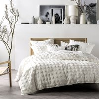 Haze Duvet Cover Set (Double) (White) - Linen House
