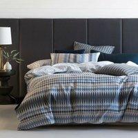 Linen House Northbrook Duvet Cover Set (Super King) (Indigo)