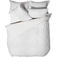 Linen House Palm Springs Chenille Ogee Duvet Cover Set (Double) (White)