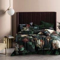 Winona Duvet Cover Set (Double) (Ivy Green) - Linen House