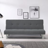 Linen Simple 2 Seater Sofa Bed, Dark Grey - LIVINGANDHOME
