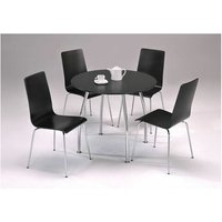 Lingham Large Black Round Chrome Kitchen Dining Set 90Cm Table Top