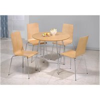 Netfurniture - Lingham Wood Round Table 4 Stackable Chairs Beech And Chrome