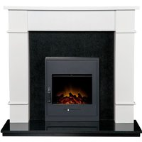 Adam - Linton Surround with Downlights in Pure White and Granite with Oslo Electric Fire, 48 Inch