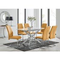 Furniturebox Uk - LIRA 120 Extending Dining Table and 6 Mustard Lorenzo Chairs