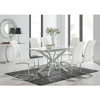 Furniturebox Uk - LIRA 120 Extending Dining Table and 6 White Murano Chairs