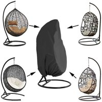 Garden Hanging Chair Cover Rattan Wicker Waterproof Hanging Chair Cover Egg Protective Cover Chair water and dust resistant - 190 X115cm, Black