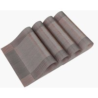 LITZEE Placemats Set Set of 4 Washable PVC Heat Resistant Non-Slip Table Mat for Dinner Kitchen Living Room Garden or Dining Room Restaurant - Brown
