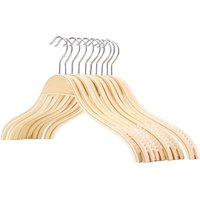 Wooden Hangers with Bar for Pants Clothes Hanger Wooden Wardrobe Set, 10 - Litzee