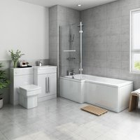 Live Bathroom Suite 1700mm Left Hand L Shape Shower Bath with Screen and Right Hand Basin Vanity Unit Set with Toilet - AQUARISS