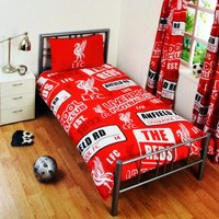 Childrens/Kids Official Patch Football Crest Duvet Set (Single) (Red) - Liverpool Fc