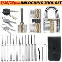 Drillpro - Lock Picking Set Unlocking Tool Set Locksmith Convenient Lock Pick Key Extractor Lockpick Padlock Tool Kits with Carrying Bag for