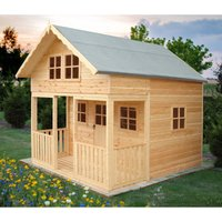 Lodge 8 x 9 Single Door with Two Fixed and Three Opening Windows Playhouse - SHIRE