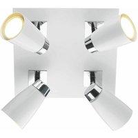 Loft spotlight plate white and polished chrome 4 bulbs