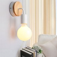 Loft White Wall Lamp Simplicity E27 LED Iron and Wood Plate Wall Light fixtures for Kids Room Bedroom Bar Hotel (No Bulb)
