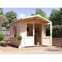 Log Cabin Avon W2.5m x D2.5m - Garden Home Office Man Cave Workshop Summerhouse Shed 28mm Walls Toughened Glass and Roof Shingles