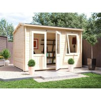 Dunster House Ltd. - Log Cabin Carsare W3.5m x D2.5m - Shed Summer House Workshop Garden Office Man Cave 45mm Walls Double Glazed and Roof Shingles