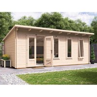 Log Cabin Garden Office Man Cave Garden Room Summerhouse Terminator - W6m x D4m (45mm)