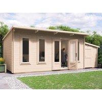 Log Cabin Garden Office Man Cave Garden Room Summerhouse Terminator with SideStore - W6.5m x D3.5m (45mm)
