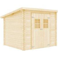 vidaXL Log Cabin 28 mm 3.3x2.6 m Solid Wood - Brown