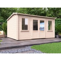 Dunster House Ltd. - Log Cabin Lantera W4.5m x D3.5m - Summer House Garden Office Workshop Man Cave Shed 45mm Walls Double Glazed and Roof Shingles