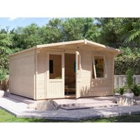 Dunster House Ltd. - Log Cabin Rhine W4m x D4m - Garden Summer House Workshop Man Cave Home Office Shed 45mm Walls Double Glazed and Roof Shingles