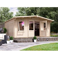 Log Cabin Severn W5m x D4m - Garden Home Office Man Cave Workshop Summerhouse Shed 45mm Walls Double Glazed and Roof Shingles