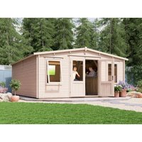 Dunster House Ltd. - Log Cabin SuperSevern 5mx6m - Games Room Extension Summer House Garden Office Man Cave 45mm Walls Double Glazed and Roof Shingles