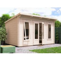 Dunster House Ltd. - Log Cabin Terminator 4m x 3m - Summer House Garden Office Home Studio Man Cave 45mm Walls Double Glazed and Roof Felt