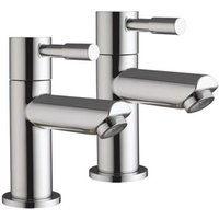 Grand Taps - Lola 3 - Pair Of Hot And Cold Modern Chrome Lever Pillar Bathroom Bath Taps BSP