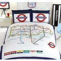 London Undgerground Tube Duvet Cover and Pillowcases Bedding Set - King